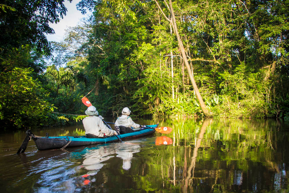 amazon kayaking down a rainforest river