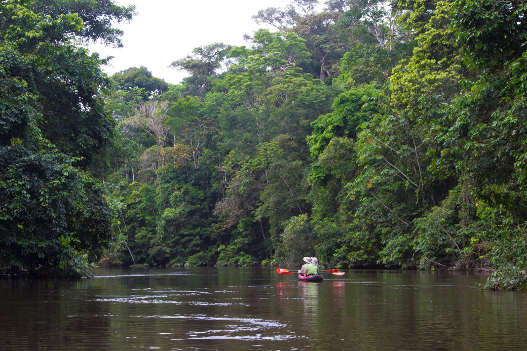 Couple kayaking down an Amazon river