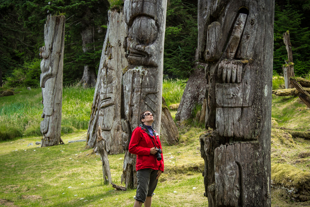The totem poles at Skung Gwaii village, Haida Gwaii