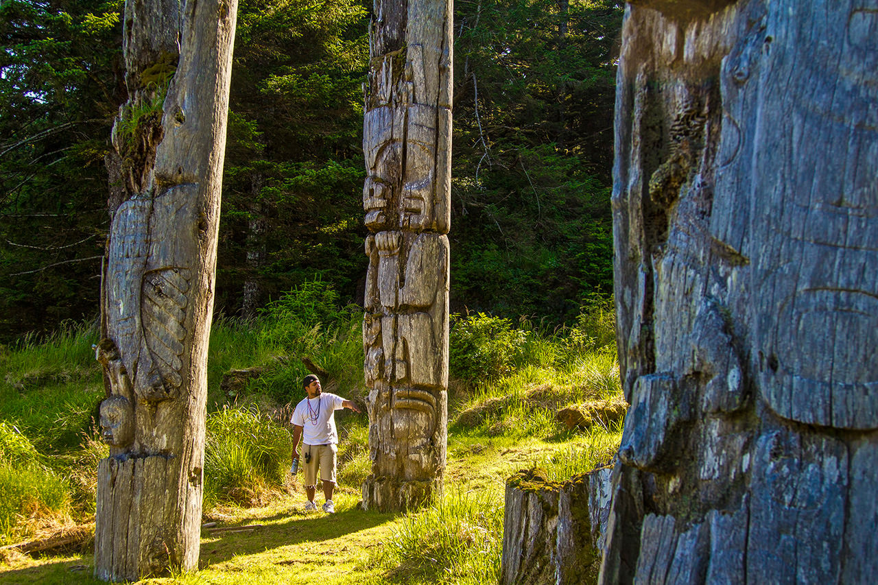 Haida Watchmen at Skung Gwaii  Totem Poles Haida Gwaii Kayaking Trip