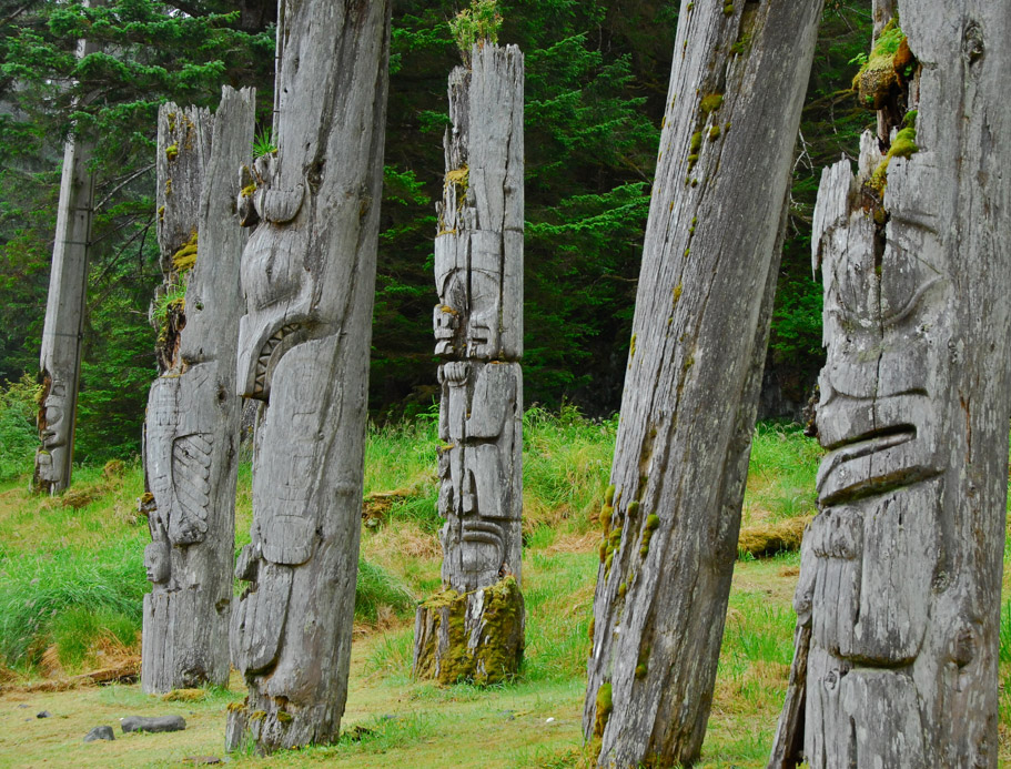 The standing totem poles of SGang Gwaay