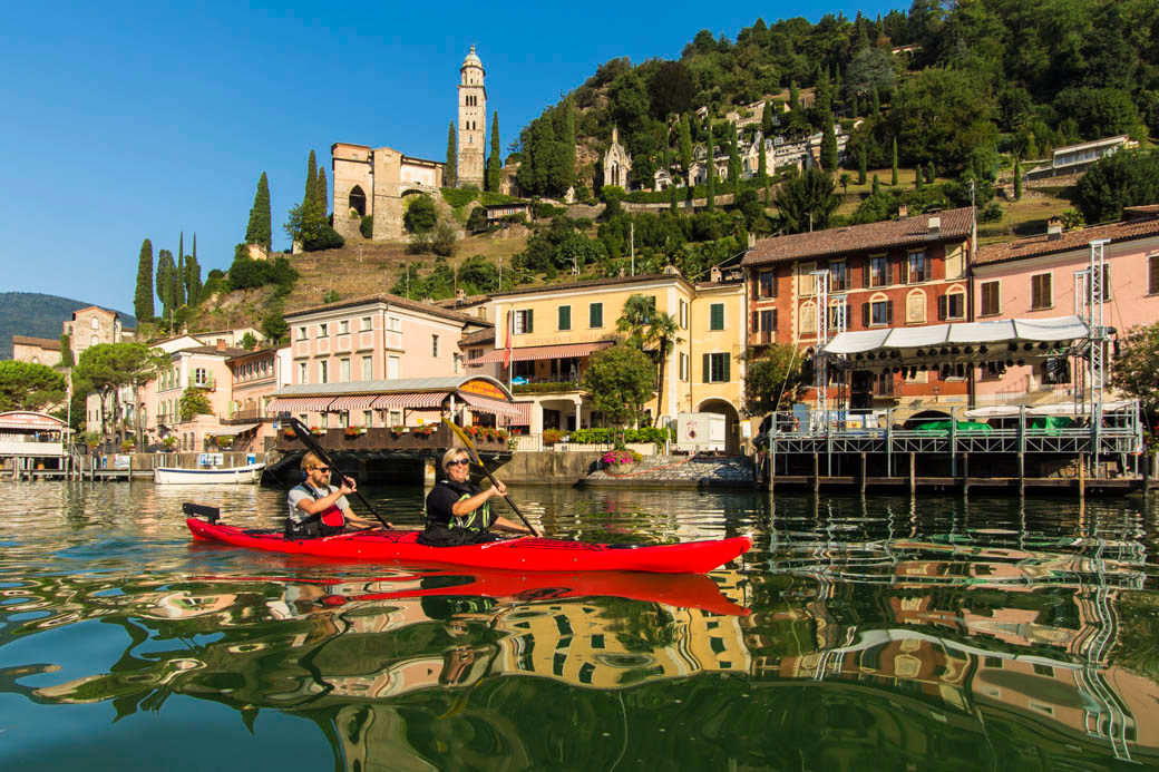 Kayaking to the village of Morcote, Lago Lugano
