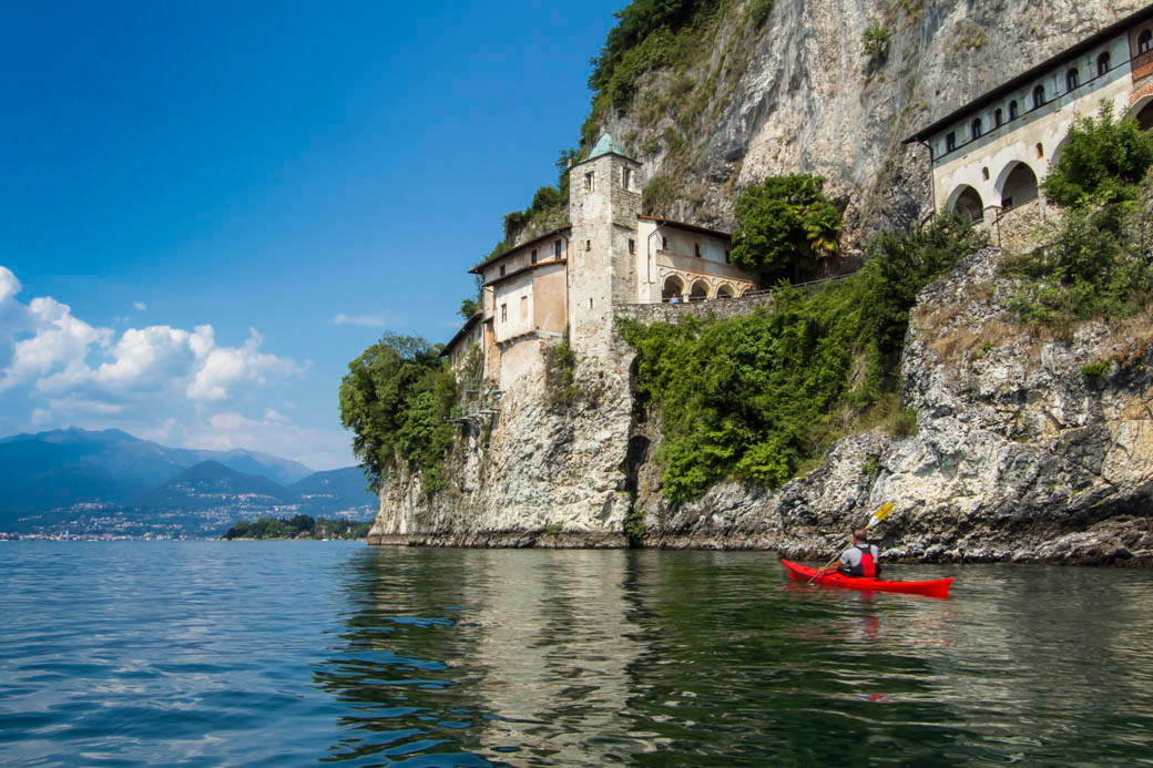 Kayaking past Hermitage of Santa Caterina del Sasso