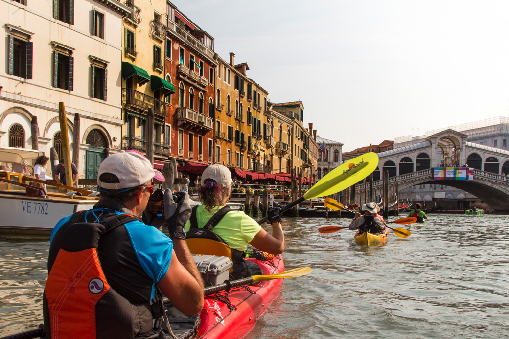 Kayaking the Venice Grand Canal Approaching the Rialto Bridge