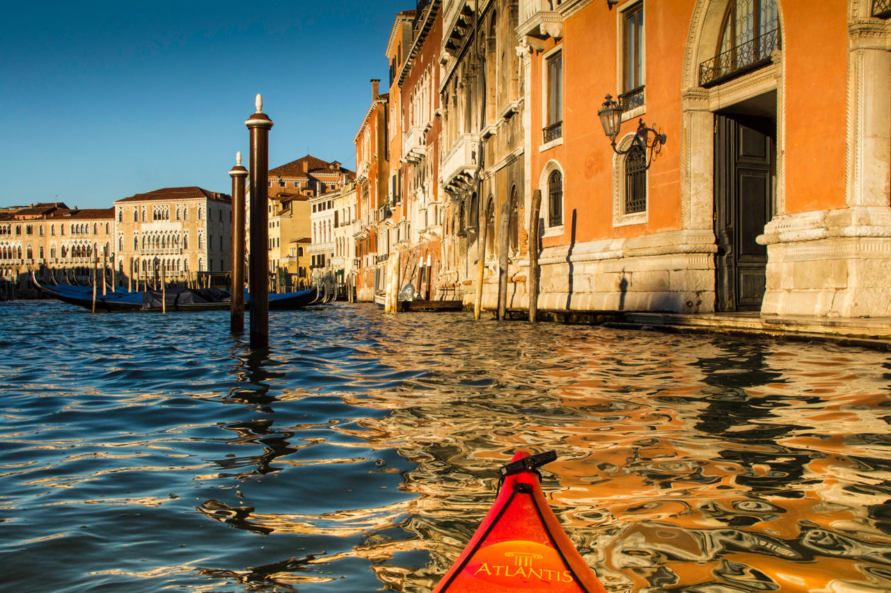 Kayaker View of the Palaces on the Venice Grand Canal