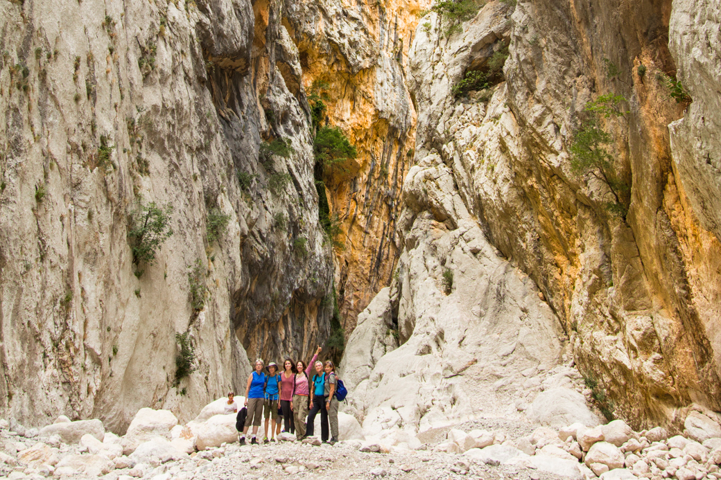Hikers Explore the Gorropu Gorge, Europe