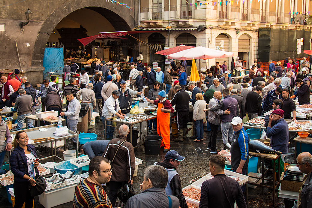 Famous Fish Market in Catania