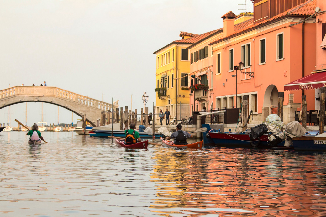 Out for a paddle in Chioggia with members of the Venetian kayaking community.
