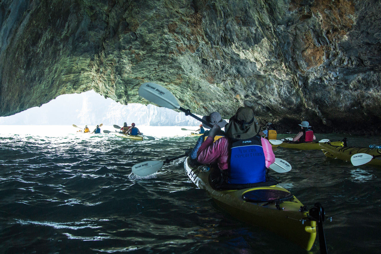 Kayaking a Sea Cave in Halong Bay, Vietnam